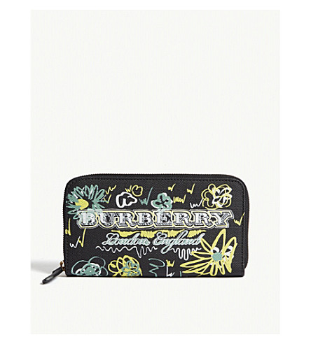 Spring Flowers Canvas Zip Around Wallet by Burberry