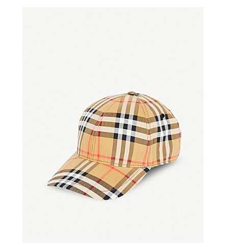 BURBERRY - Vintage check cotton baseball cap  46f89827864