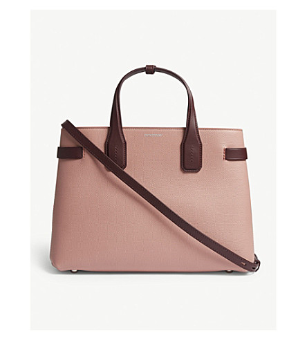 0870347035ef ... BURBERRY Banner medium grained leather tote (Dusty+rose+claret.  PreviousNext