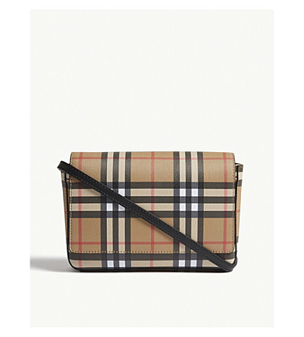 8c7dad16a2cd BURBERRY - Hampshire vintage check leather cross-body bag ...