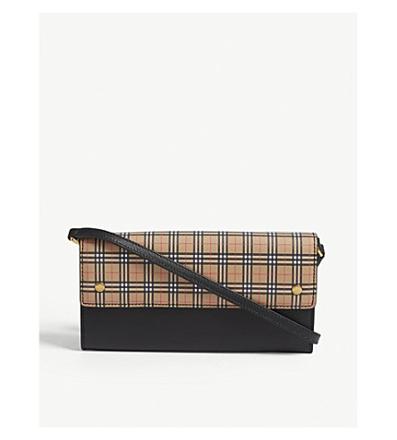 8b3a6c78dccd BURBERRY - Leather mini check wallet-on-chain