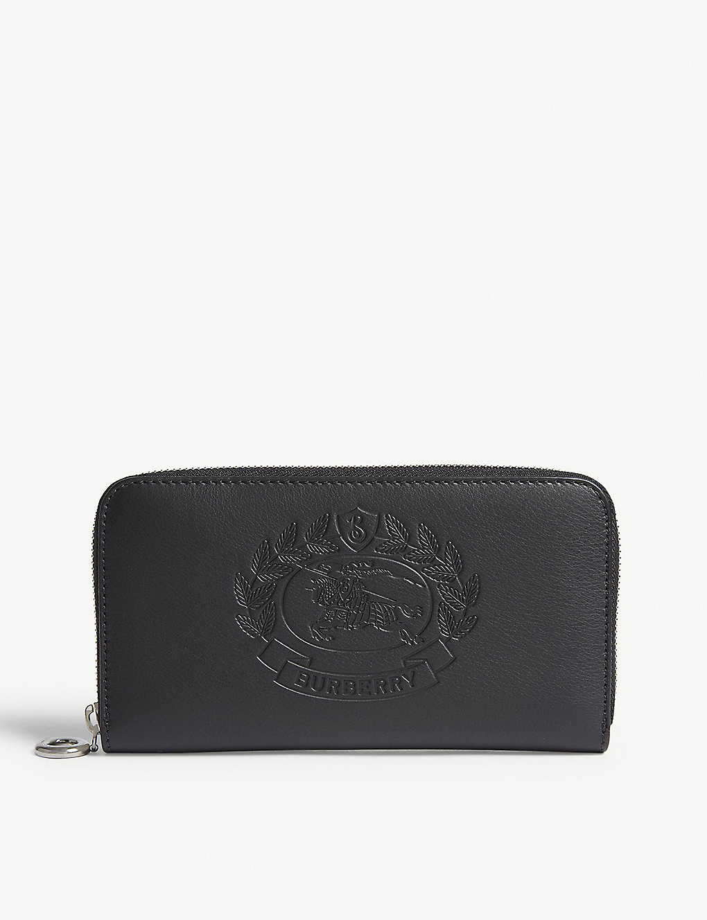 46281152e26e BURBERRY - Embossed crest leather zipper-around wallet