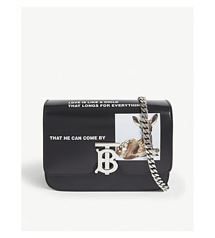 9b6f63e402b6 ... BURBERRY Deer print leather cross-body bag (Black. PreviousNext