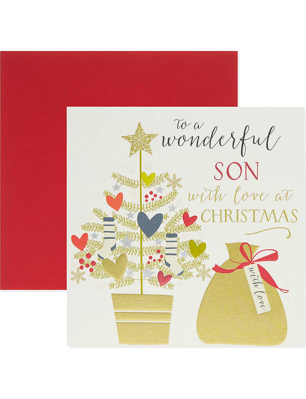 THINK OF ME - \'To a wonderful son\' Christmas card | Selfridges.com