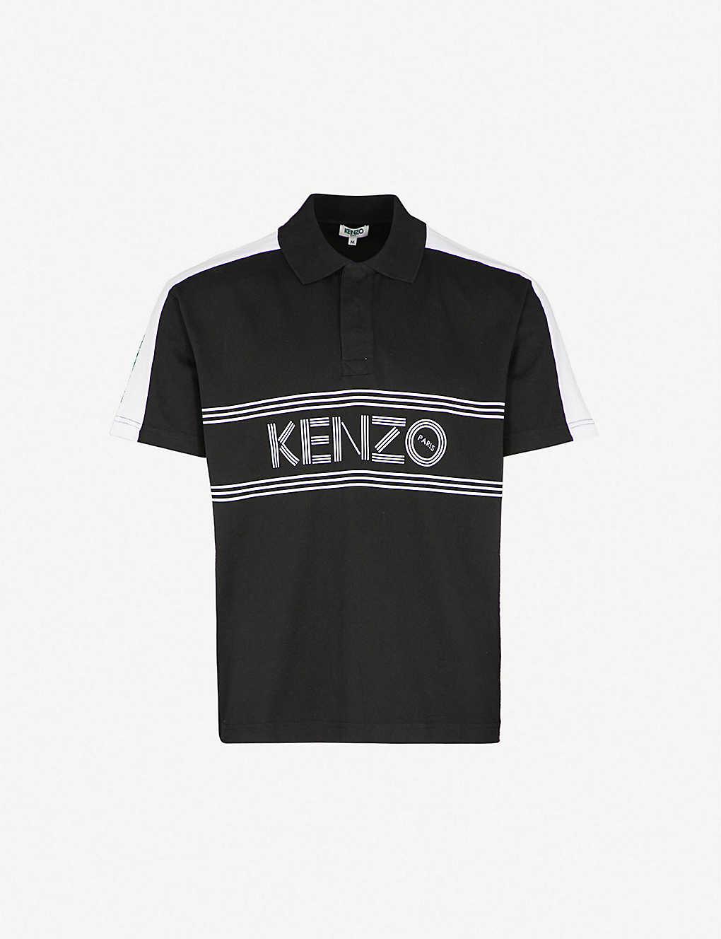 Kenzo Logo Print Cotton Jersey Polo Shirt Selfridges