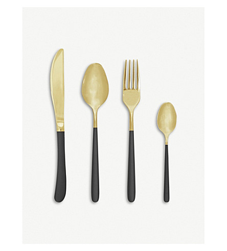 Stainless Steel Four Piece Cutlery Set by Bloomingville