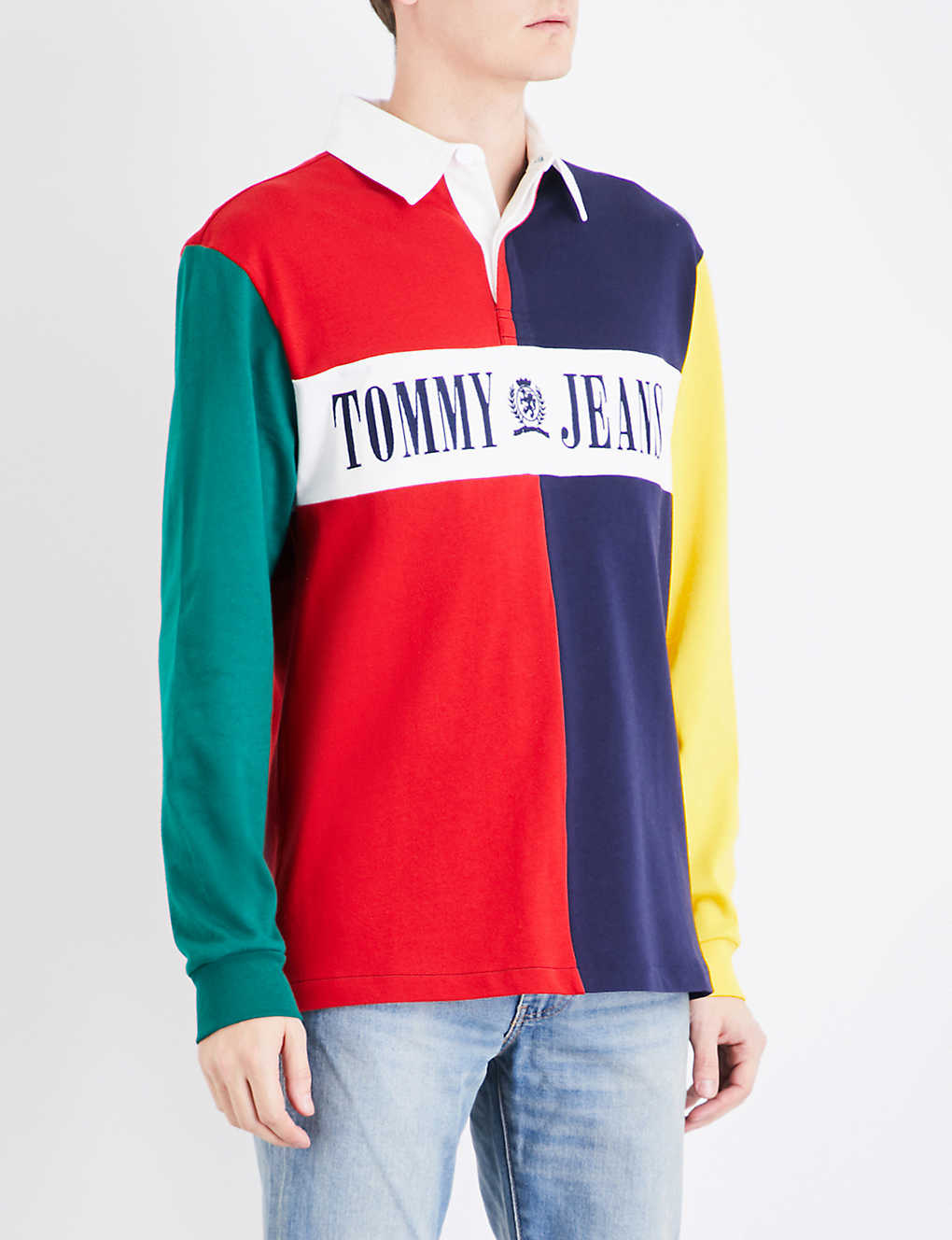 Tommy Jeans 90s Rugby Style Cotton Polo Shirt Selfridges