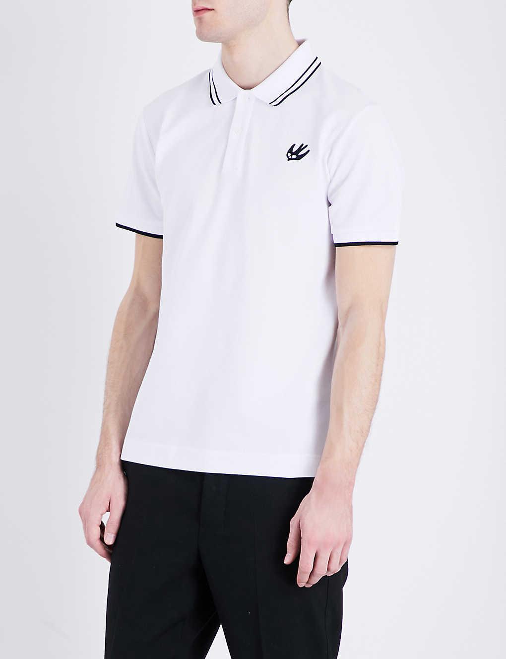 Mcq Alexander Mcqueen Swallow Logo Cotton Pique Polo Shirt