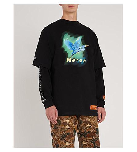 Heron Print Cotton Jersey T Shirt by Heron Preston