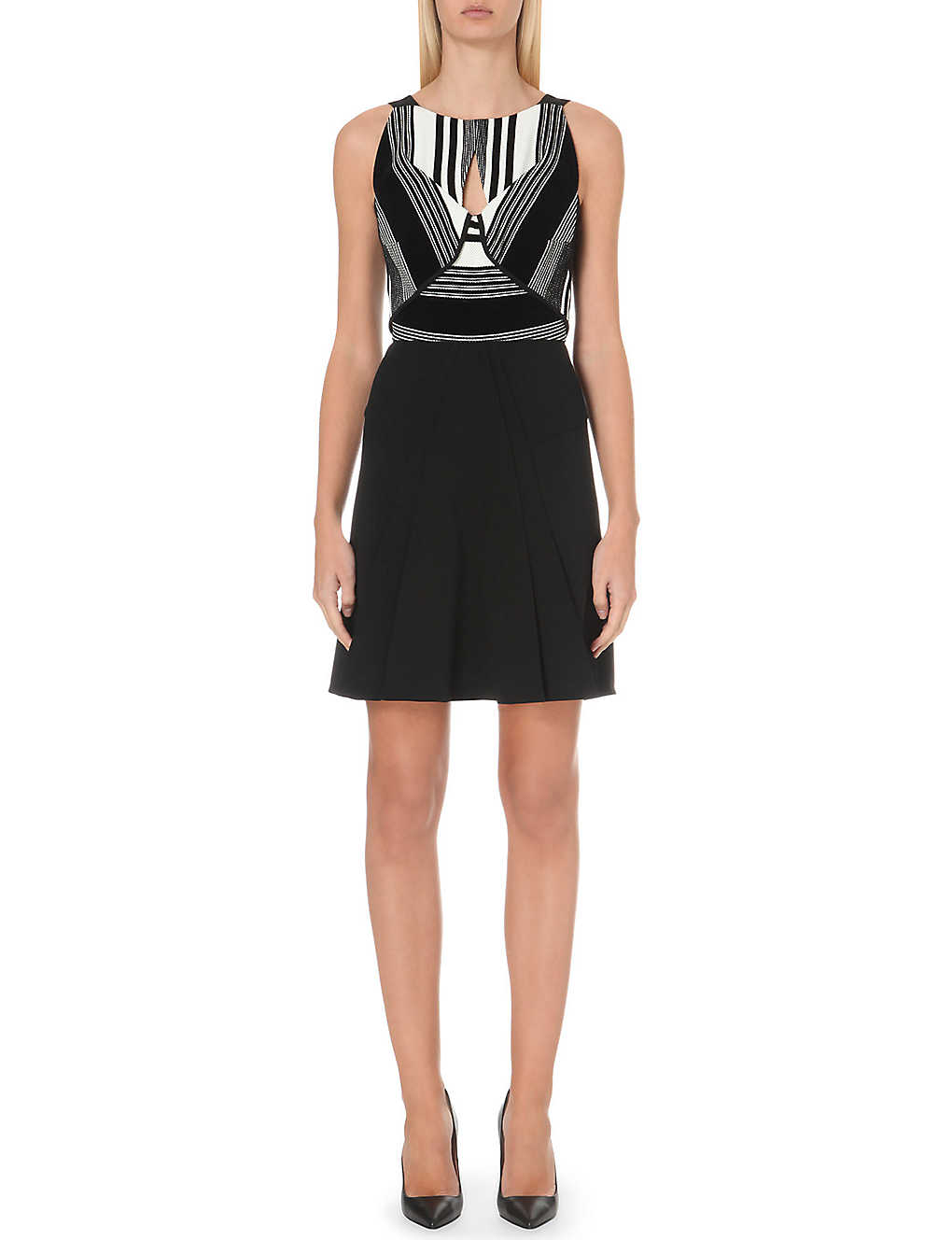 ROLAND MOURET Derya basket-weave dress