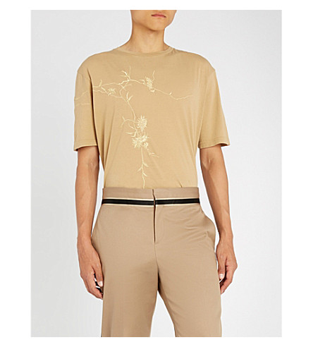 Awuna Metallic Embroidered Cotton Jersey T Shirt by Haider Ackermann