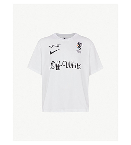... NIKE X OFF-WHITE Logo-print cotton-jersey T-shirt (White. PreviousNext dbe6bf0e9