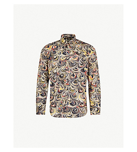 Marble Effect Regular Fit Cotton Shirt by Dries Van Noten