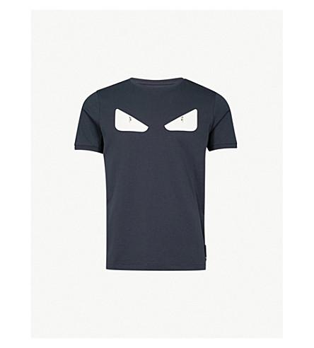 6da31f59fb52 ... FENDI Bug Eye-appliquéd cotton-jersey T-shirt (Blue. PreviousNext