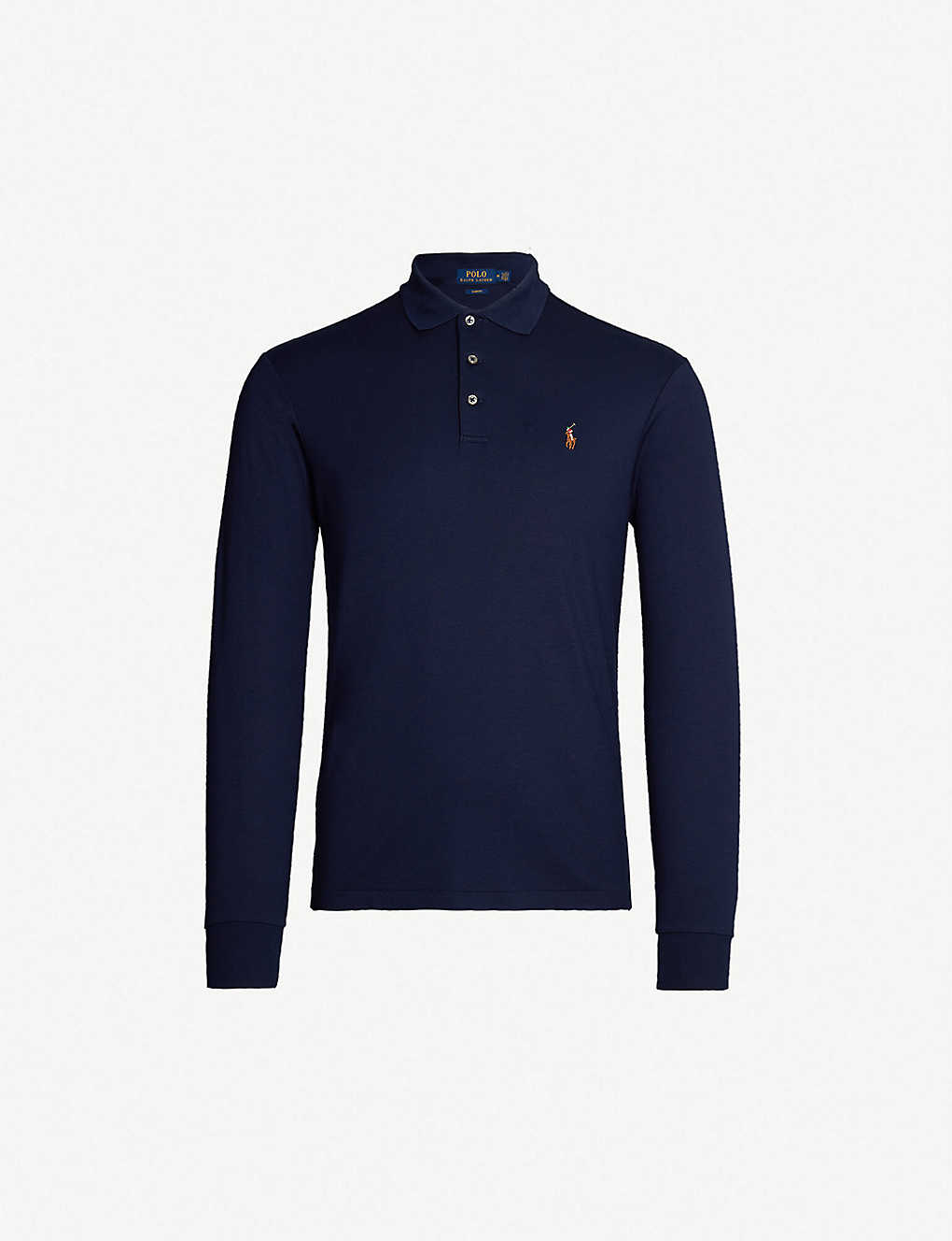 Polo Ralph Lauren Logo Embroidered Long Sleeved Cotton Jersey Polo