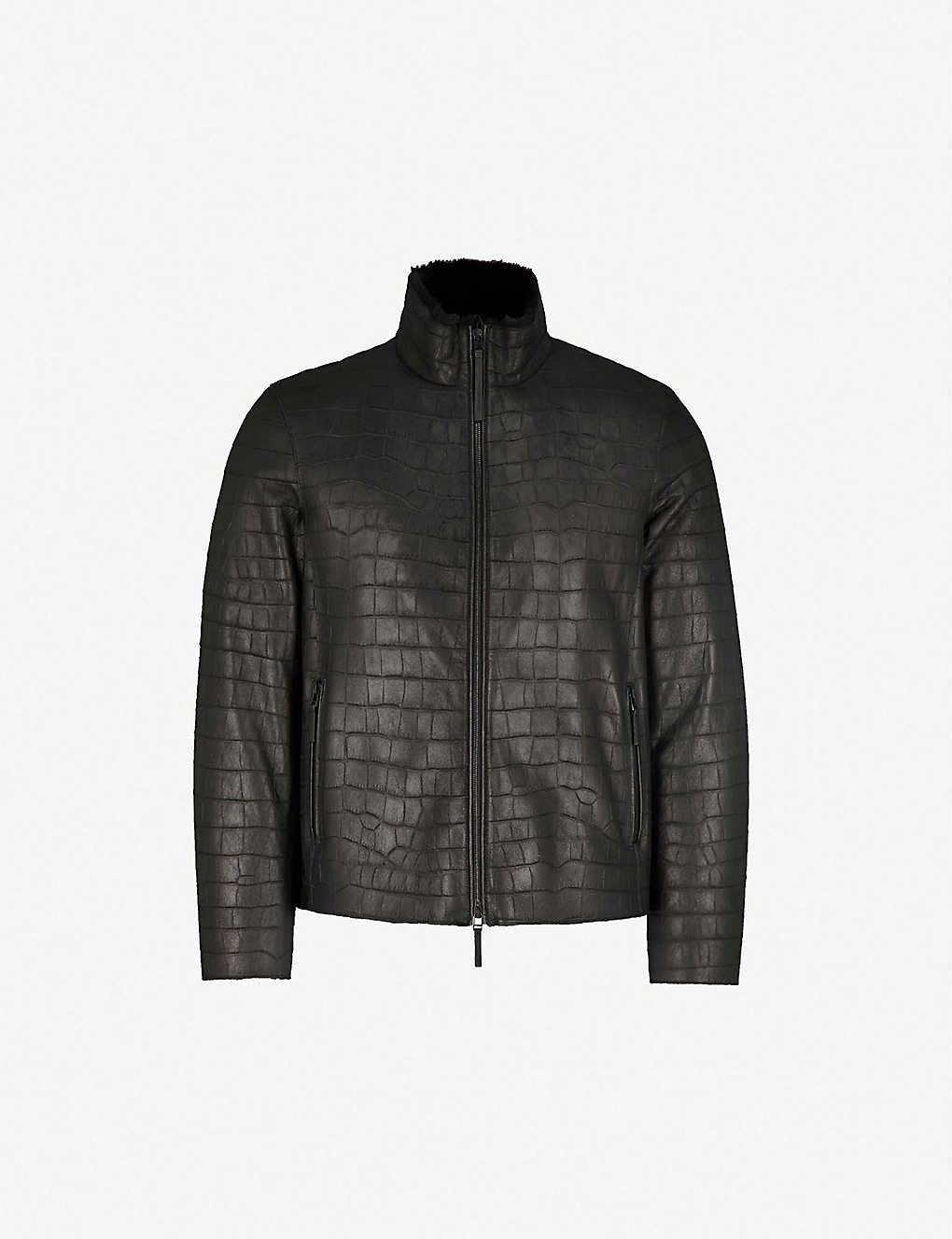 And Armani Shearling Leather Emporio Croc Effect Jacket z7Iqvq