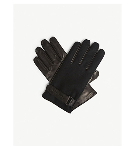 Leather And Wool Gloves by Emporio Armani