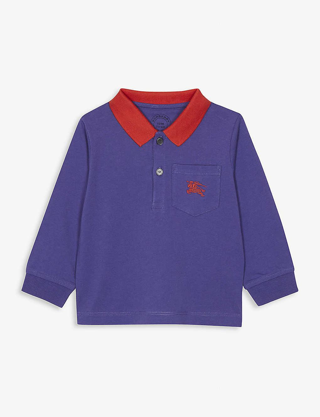 ff5c9dbc BURBERRY - Contrast collar cotton polo shirt 6-36 months ...