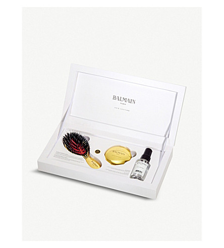 BALMAIN Mini Golden Spa brush and mirror