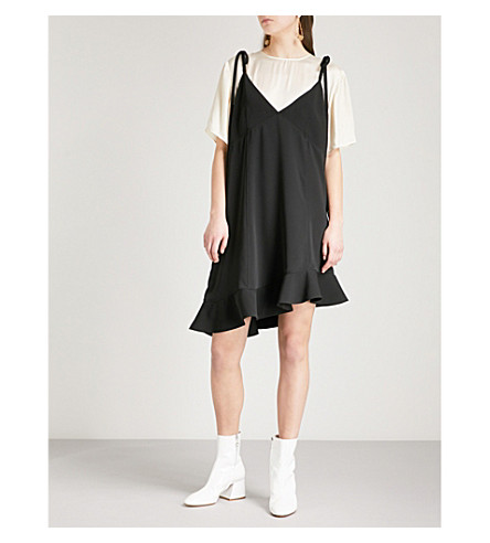 Layered Satin And Crepe Dress by Kenzo