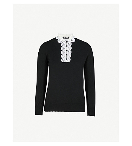 Martine Lace Collar Cotton Blend Jumper by Claudie Pierlot