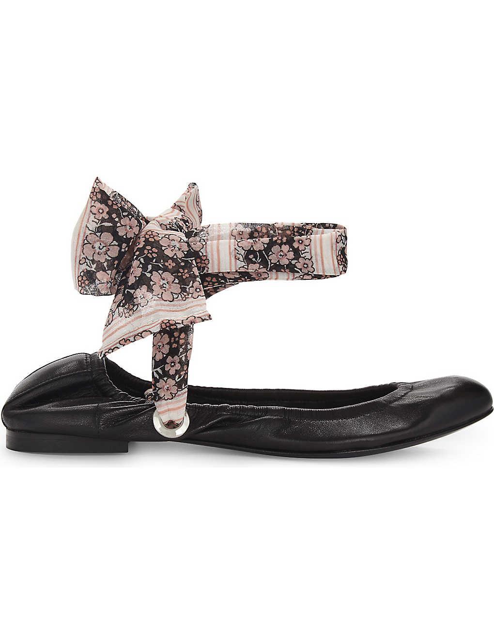 Noir CLAUDIE PIERLOT Achille floral strap leather ballet flats