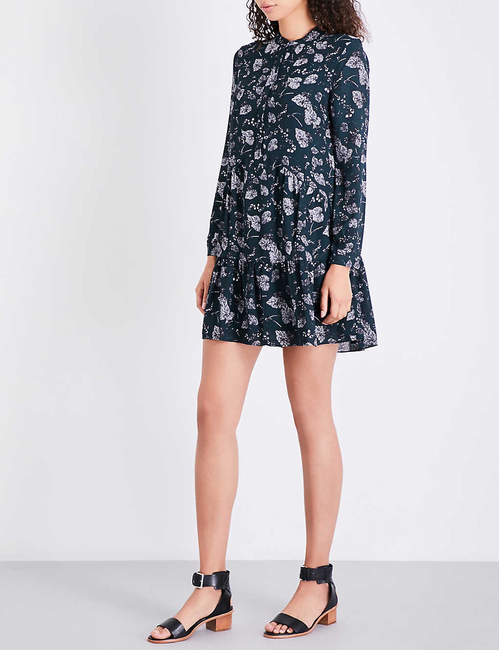 Whistles Autumn Leaf Print Crepe Shirt Dress Selfridges