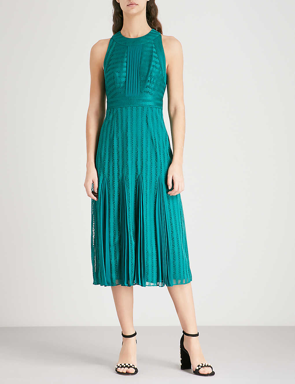 WHISTLES - Nora striped lace dress | Selfridges.com