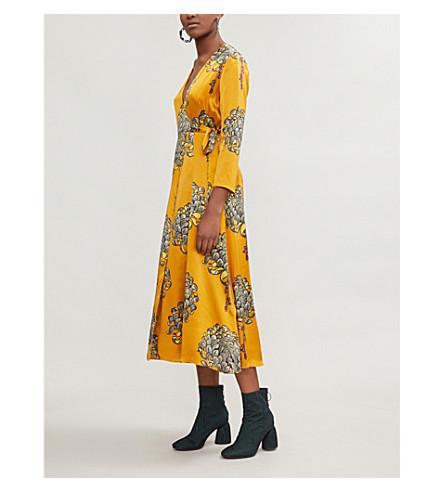 Gabrielle Floral Print Silk Satin Wrap Dress by Whistles