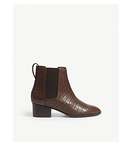 Daisley Crocodile Embossed Leather Chelsea Boots by Whistles