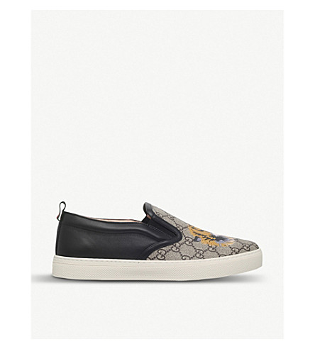 Latest Cheap Gucci Beige Dublin Tiger-Print Leather And Canvas Skate Shoes for Men Sale Sale