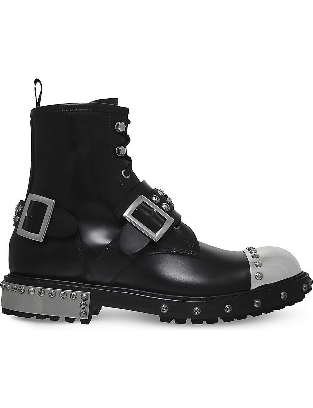Black/comb ALEXANDER MCQUEEN Steel toe cap leather biker boots