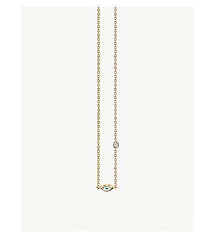 Sydney Evan Evil Eye 14ct Yellow Gold And Diamond Necklace by The Alkemistry