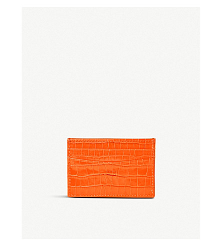 Croc Embossed Slim Leather Credit Card Case by Aspinal Of London