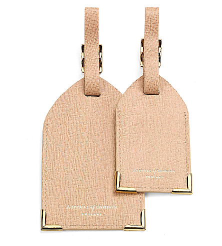 Set Of 2 Saffiano Leather Luggage Tags by Aspinal Of London