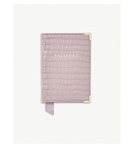 Crocodile Embossed Leather Passport Cover by Aspinal Of London