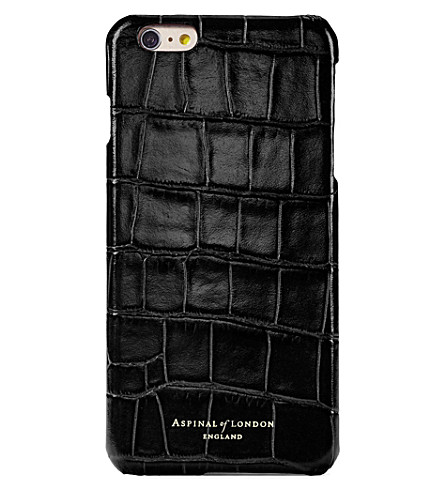 I Phone 7+ Crocodile Embossed Leather Cover Case by Aspinal Of London