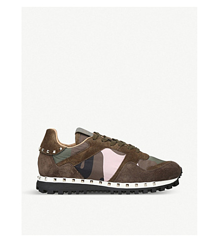 Rockstud Studded Camo Suede Sneakers by Valentino