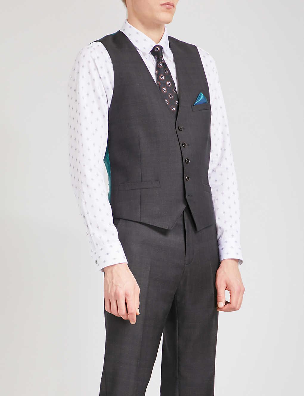 80525b5c4 TED BAKER - Checked and geometric-print wool waistcoat