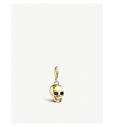 Skull 18ct Yellow Gold Plated Pendant by Thomas Sabo