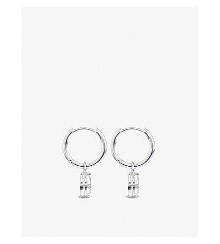 Droplet Sterling Silver And Cubic Zirconia Hoop Earrings by Thomas Sabo