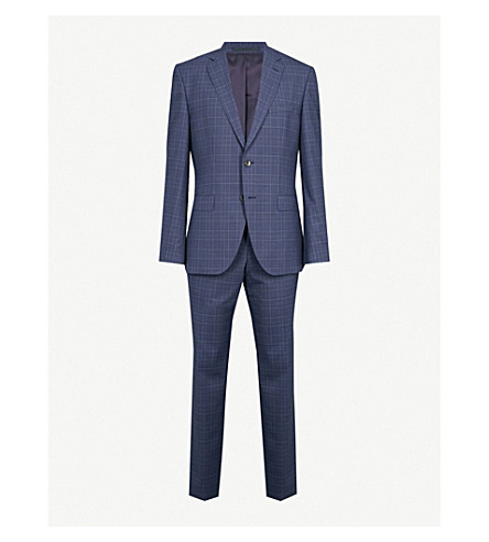 Checked Wool Suit by Boss
