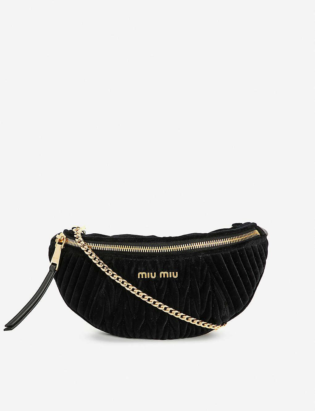 f8a96ab461bf MIU MIU - Rider matelassé velvet and leather belt bag