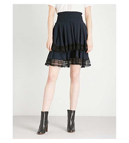 Tiered Crepe Skirt by Maje