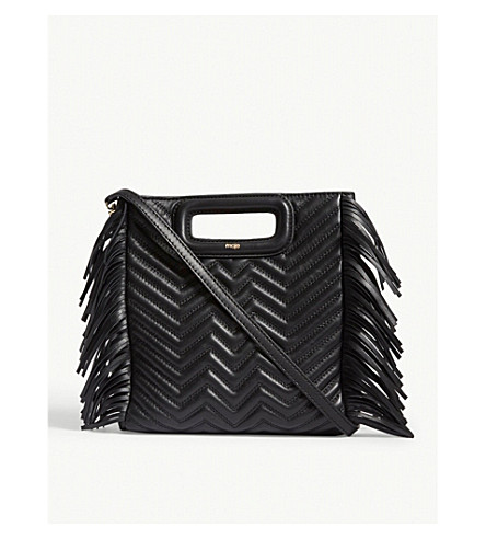 M Quilted Leather Handbag by Maje