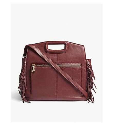 M Fringed Leather Shoulder Bag by Maje