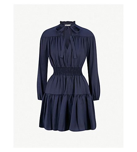 Rosseane Neck Tie Woven Dress by Maje