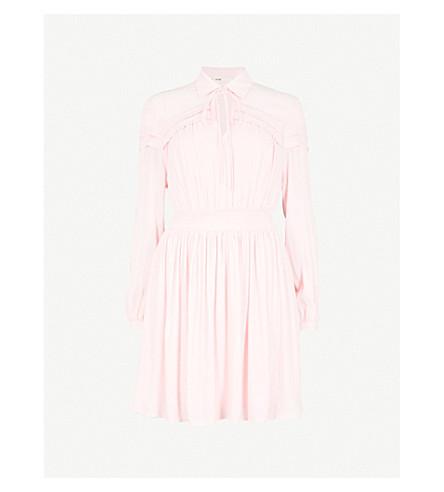 Rubin Neck Tie Ruffled Crepe Mini Dress by Maje