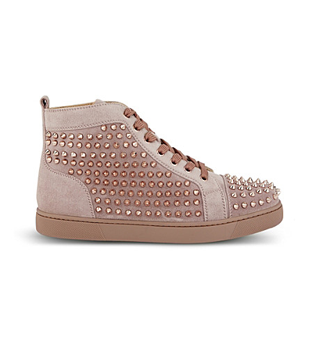 Louis Woman Flat Veau Velours/Spikes Ant by Christian Louboutin