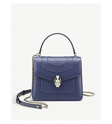 Serpenti Forever Leather Flap Cover Bag by Bvlgari